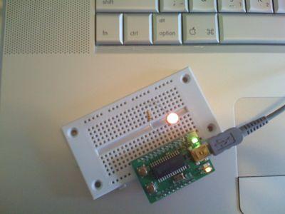 USB Microcontroller blinks happily under Processing.org program